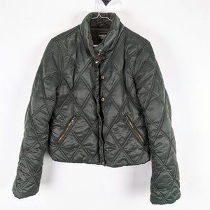 Guess Jeans Quilted Green Bomber Jacket Medium